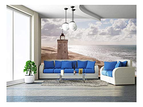 Accent Outdoor Lighthouse Natural (wall26 - Sandstorm at the Lighthouse Rubjerg Knude in North Jutland, Denmark - Removable Wall Mural | Self-adhesive Large Wallpaper - 66x96 inches)