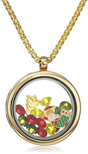 18k Gold Plated Alloy Round Pendant with X-Mas and Multi-Color Simulated Gemstones Charms Locket Necklace, 25