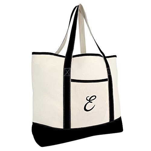 DALIX Monogram Bag Personalized Totes For Women Open Top Black Letter E