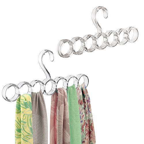 - mDesign Plastic Closet Rod Hanging Storage Organizer Rack - Scarf Holder for Bedroom, Coat Closet, Entryway, Mudroom - Holds Scarves, Ties, Shawls, Accessories - Snag Free, 7 Sections, 2 Pack - Clear