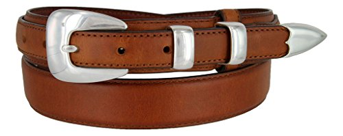Silver Buckle Set Oil-Tanned Genuine Leather Western Ranger Belt for Men(Tan, ()