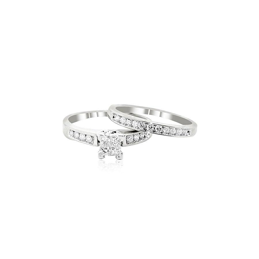 Midwest Jewellery 14K White Gold Bridal Set 1/2cttw Princess Cut Diamonds 2pc Set