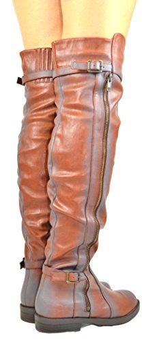 Over Boot amp; Cognac With Maggy Chloe Heel Low Side Womens Stacked 3 Zipper Chase The Knee pnPHxqZd6