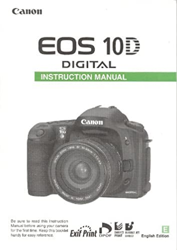 canon eos 10d digital original instruction manual canon 10d amazon rh amazon com Canon 50D canon 10d instruction manual