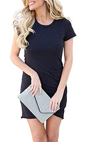 Maternity Crew Tee - Summer Tshirt Dresses for Women Casual Ruched Irregular Bodycon Short Mini Dress (Small, Z-NBL) Navy Blue