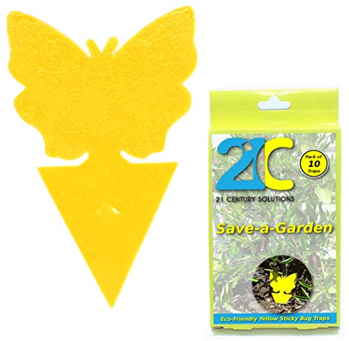 Fly Sticky (Yellow Dual Sticky Fly Traps (10 Pack) for Gnat Whiteflies Fungus Gnats Small Insects Houseplant Eco Friendly 21C Save A Garden Butterfly Shape)