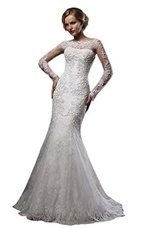 JoyVany Lace Mermaid Wedding Dress 2016 Long Sleeves Sweep Train Wedding Gowns At Amazon Womens