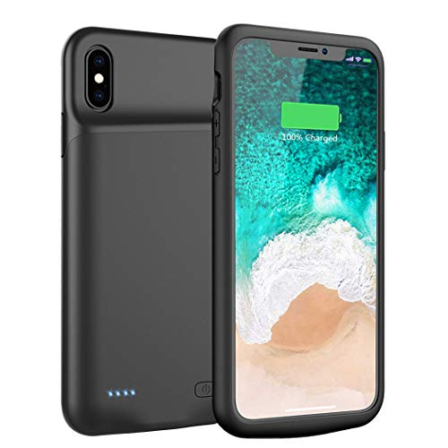 Battery Case for iPhone Xs Max, ZURUN Slim Protective Charger Case for iPhone Xs Max Extended Battery Case, 6500mAh Rechargeable Charging Case Compatible with iPhone Xs Max (Black)