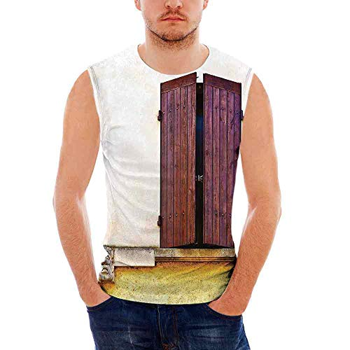 Wrap Shutter (Mens Shutters Decor Tank Top Sleeveless Tees All Over Print Casual T- Shirts,Ima)