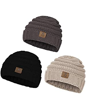 Baby Beanies for Boys Winter Hat Toddler Infant Cable Knit Cute Fashion Warm Hats for Kids