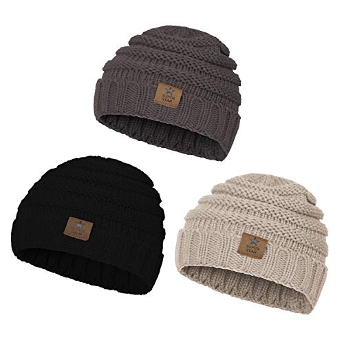 (Zando Baby Winter Hats Kids Cable Knit Caps Cozy Warm Cute Infant Toddler Beanies For Boys Girls 3 Pack:Grey,Black,Beige )