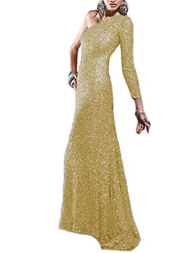 JoJoBridal Women's One Shoulder Sequined Long Prom Dresses Sleeve Gold Size 22