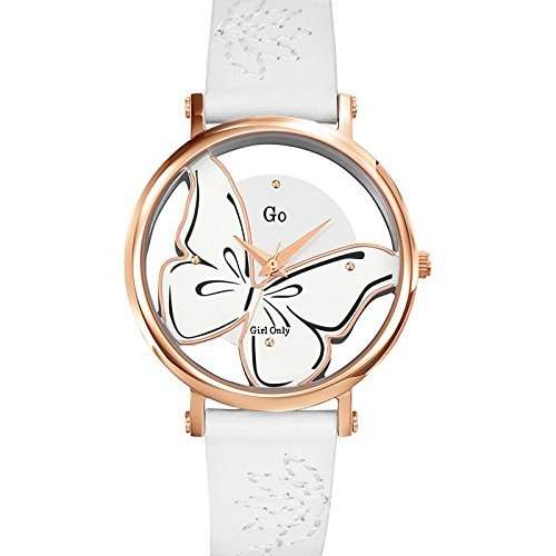 Go Girl Only 698665 - Reloj de Pulsera, para Mujer, Sistema de Cuarzo analógico, Correa de Cuero Blanca, Esfera Plateada: Amazon.es: Relojes