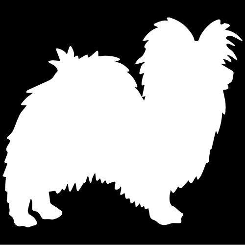 - Papillon Dog Decal Sticker (White, Mirrored), Decal Sticker Vinyl Car Home Truck Window Laptop