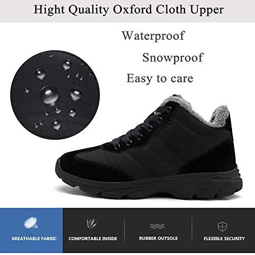 Mixte 1 Lacets D'hiver Bottines Neige Imperméable Adulte Fourrees Botte Yooeen Noir Bottes De Hommes Chaudes Chaussures Femmes À Randonnée q8nZwxOU6