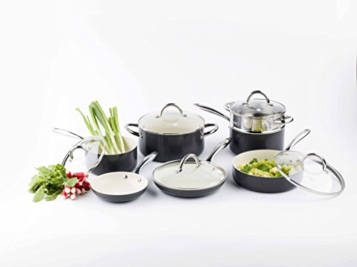 GreenPan Lima 3D I Love Cooking Ceramic Non-Stick 12 Piece Set, Cream