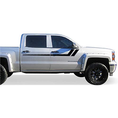 (Bubbles Designs Decal Graphic Sticker Side Sport Stripe Kit Compatible with Chevrolet Silverado 2014-2017 (Black))