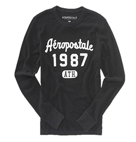 Aeropostale Mens Long Sleeve Thermal Shirt X-Small Black ()