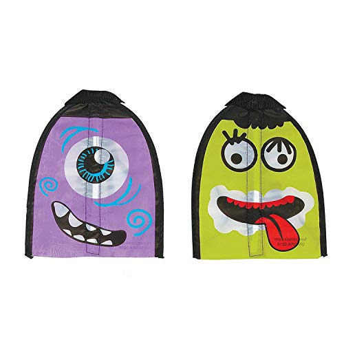 (Kicko Wacky Slingshot Flyer 8 X 10.5 Inches - 2 Pieces - Assorted Colors and Monster Faces Which May Vary - Elastic Pull Back Kite - for Kids, Party Favors, Bag Stuffers, Fun, Toy, Prize)