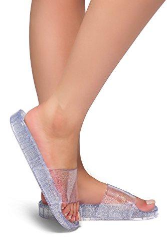 050117, Glitz Jelly Slide Sandals Clear 10 ()