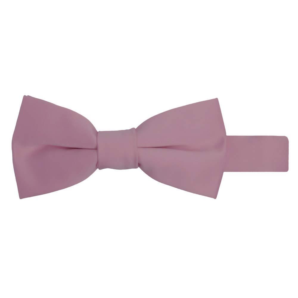 Jacob Alexander Boy's Kids Pretied Banded Adjustable Solid Color Bowtie - Dusty Rose