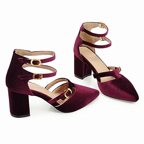 YE Womens High Block Heels Ankle Strap Court Shoes Pointed Toe Sandals Summer Pumps Purple P1LZtu