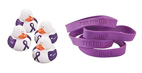 - 1 Purple Awareness Vinyl Rubber Duck + 1 Free Purple Awareness Ribbon Bracelet, Support pancreatic cancer, Alzheimer's, lupus, animal abuse, Crohn's disease
