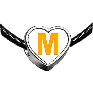 Chicforest Silver Plated Yellow Letter M Photo Heart Charm Beads Fits Pandora Chamilia Biagi Charm Bracelet