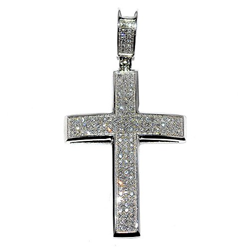 - 14k White Gold Cross with Diamonds for Men 0.53cttw Pave Set 33mm Tall