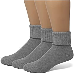 EMEM Apparel Women's Ladies Plus Size Queen Soft Ribbed Turn Cuff Down Ankle Crow Cotton Socks Hosiery 3-Pack Heather Grey 10-13