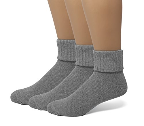 EMEM Apparel Women's Ladies Plus Size Queen Soft Ribbed Turn Cuff Down Ankle Crow Cotton Socks Hosiery 3-Pack Heather Grey...