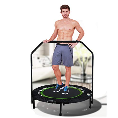 shaofu Mini Adult Trampoline Indoor Gymnastic Exercise Rebounder Trampolines 300 lbs with Handle (Green - Adjustable Legs)