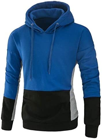 Beeatree Men's Color Block Pocket Zipper Long Sleeve Trim-Fit Sweatshirt Tunic Top