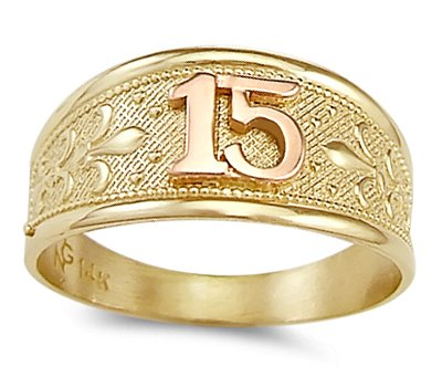 7 Jewel Tie Solid 14k Two Toned Gold 15 Years Birthday Ring Size