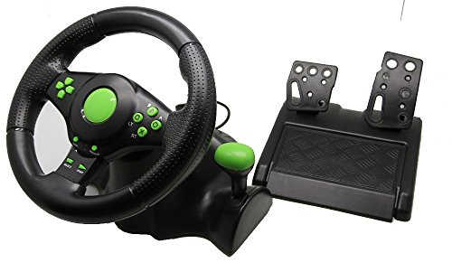 Video game racing wheel Wired USB Vibration Feedback racing wheel for ps3 Steering Wheel work for XBOX 360/ PS3/ PC (3 in 1)
