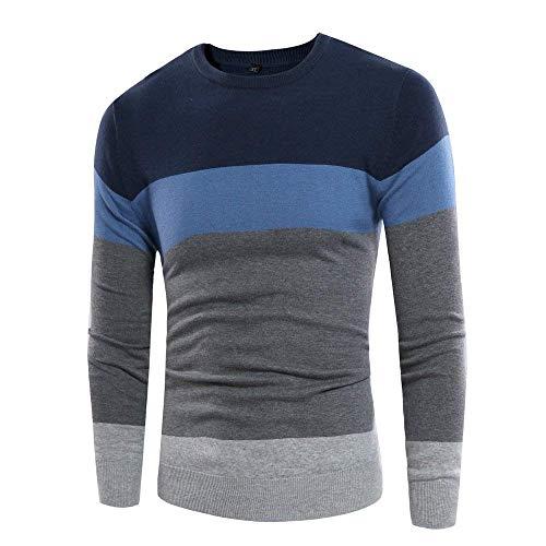 shirt Rond Hommes Marine T V Bobolily Casual Bleu Avec Pull Et Tricot Col Tops En TBqxwExU