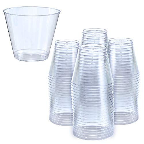 5 oz Clear Plastic Cups | Small Disposable Cups | Old Fashioned Tumblers | 100 Pack | Beverage Party Cups | Hard Plastic Drinking Cups | Ideal for Wine, Cocktails & Punch [Drinket]