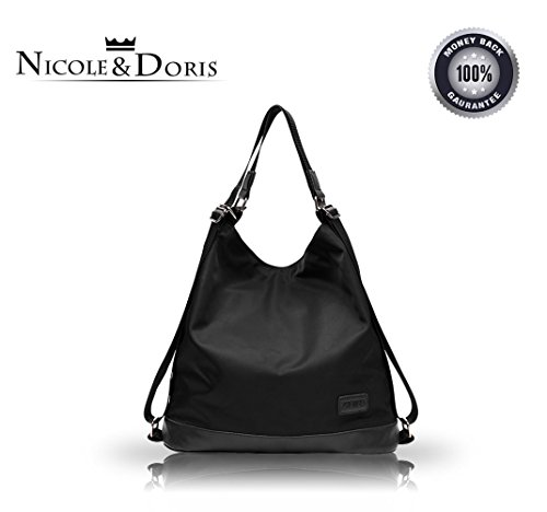 NICOLE&DORIS 2016 new canvas shoulder bag casual shoulder bag dual female backpack nylon oxford bags(Black) (Nicole Oxford)