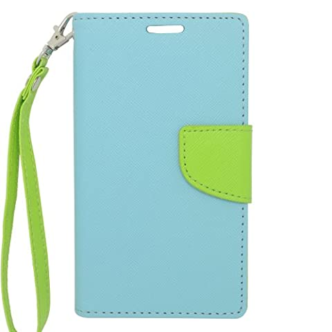 Eagle Cell Flip Wallet PU Leather TPU Case Cover for LG L70/Ultimate 2 L41C/Exceed 2/Realm - Retail Packaging - Green/Light (Lg L41c Phone Case Wallet)