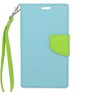 EagleCell Flip Wallet PU Leather TPU Protective Case Cover for LG L90 - Green/Light Blue