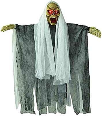 Prextex Animated Skeleton Ghost Halloween Decoration with Glowing Red Eyes 20-Inch