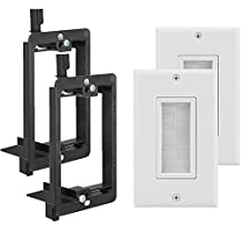 Fosmon (4 Pack) Single Gang Wall Plate, Brush Style Opening Passthrough Cable Plate with Low Voltage Mounting Bracket
