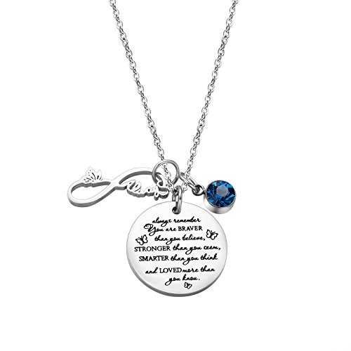 (Fullrainbow You are Braver Than You Believe Stainless Steel December Birthstone Necklace Gift for Girls)