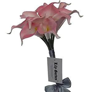 """Lily Garden Mini 15"""" Artificial Calla Lily 10 Stem Flower Bouquets (Pink with Ribbon)"""
