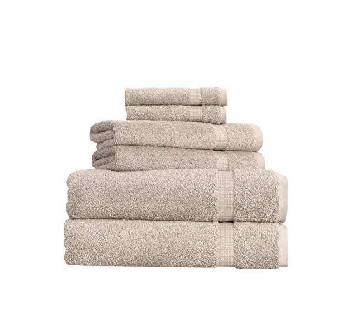 SALBAKOS 6 Piece Bath Towel Set - Turkish Luxury Hotel & Spa Collection - OEKO-TEX Organic - Eco-Friendly Turkish Cotton (Taupe)