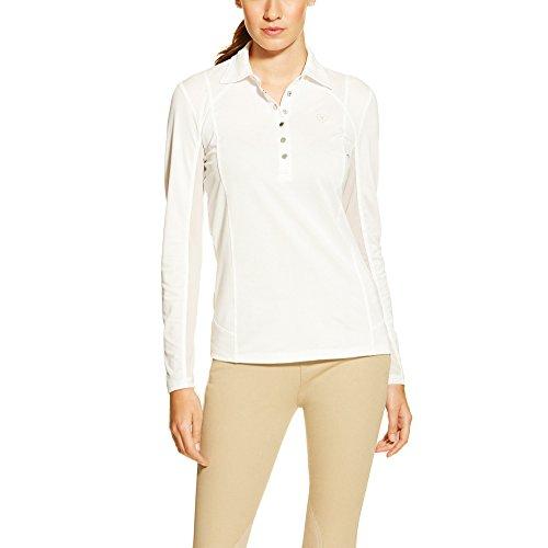 Ariat Women's Long Sleeve Sunstopper Polo, White, X-Large