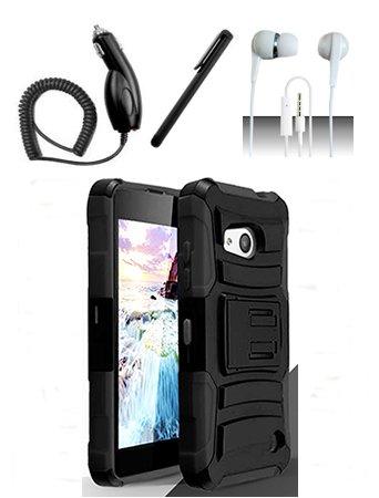 Nokia Lumia 550 [Shoparound168] Black Hybrid Armor Dual Layer Case w/ Built in Kickstand and Holster + Car Charger + Free Stylus Pen + Free 3.5mm Earphone (Nokia Lumia 550)