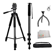 3 Piece Best Value Tripod Package For The Canon EOS Rebel XS, XSi, T1i, T2i, T3, T3i, T4i, T5i, T6i, T6s, SL1, 60D, 70D, 7D, 7D Mark II, 6D, 5D Mark II and 5D Mark III Digital SLR Cameras