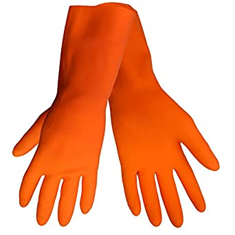 Global Glove 30FT Flock Lined Latex Rubber Diamond Pattern Glove with Straight Cuff, Chemical Resistant, 30 mil Thick, Medium, Orange (Case of 144)