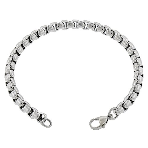 Rolo Ankle Bracelet (Women's 5mm Box Rolo Chain Stainless Steel Anklet, 7-14 inches (14 Inches))